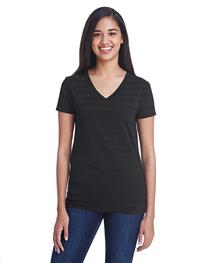 Threadfast Ladies' Invisible Stripe V-Neck T-Shirt