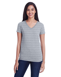 Threadfast Ladies' Invisible Stripe V-Neck T-Shirt