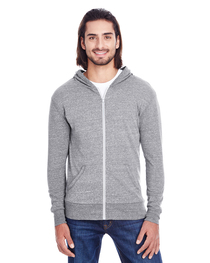 Threadfast Unisex Triblend Full-Zip Light Hoodie