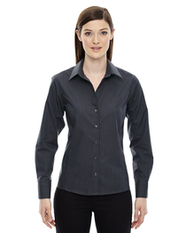 North End Ladies' Wrinkle-Free Cotton Striped Tape Shirt
