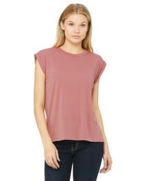 Bella Ladies' Flowy Muscle T-Shirt with Rolled Cuff