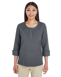 Devon & Jones Ladies' Central Cotton Blend Mélange Knit Top