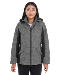 Devon & Jones Ladies' Insulated Fabric-Block Jacket  Mélange