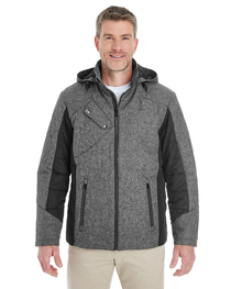 Devon & Jones Men's Insulated Fabric-Block Jacket  Mélange