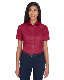 Harriton Ladies' Easy Blend™ Short-Sleeve Twill Shirt  Stain
