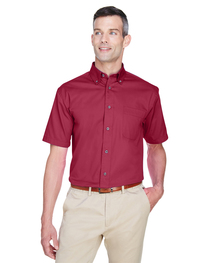 Harriton Men's Easy Blend™ Short-Sleeve Twill Shirt  Stain-R
