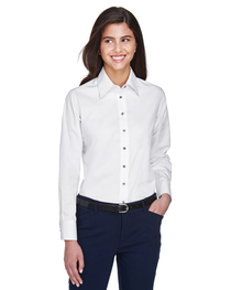 Harriton Ladies' Easy Blend™ Long-Sleeve Twill Shirt  Stain-