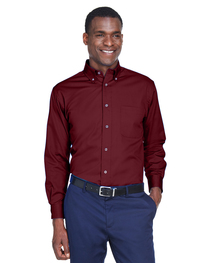 Harriton Men's Easy Blend™ Long-Sleeve Twill Shirt  Stain-Re