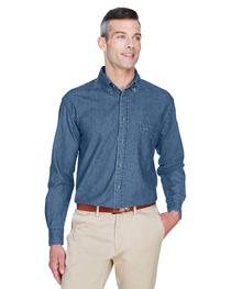 Harriton Men's Tall 6.5 oz. Long-Sleeve Denim Shirt