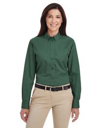 Harriton Ladies'  Cotton Long-Sleeve Twill Shirt Teflon™