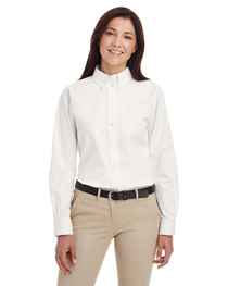 Harriton Ladies'  Cotton Long-Sleeve Twill Shirt  Teflon™