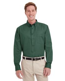Harriton Men's  Cotton Long-Sleeve Twill Shirt Teflon™