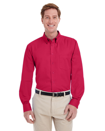 Harriton Men's  Cotton Long-Sleeve Twill Shirt  Teflon™