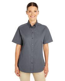 Harriton Ladies'  Cotton Short-Sleeve Twill Shirt  Teflon™