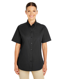 Harriton Ladies'  Cotton Short-Sleeve Twill Shirt  Teflon™