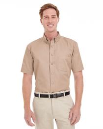 Harriton Men's  Cotton Short-Sleeve Twill Shirt  Teflon™