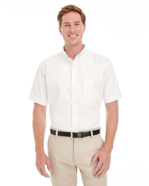 Harriton Men's  Cotton Short-Sleeve Twill Shirt  Teflon™